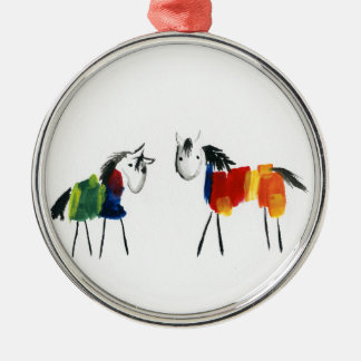 Little Rainbow Ponies Metal Ornament