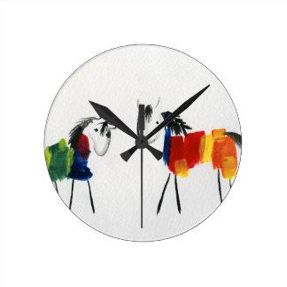 Little Rainbow Ponies Round Clock