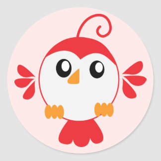 Little Red Bird Classic Round Sticker