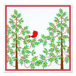 Little Red Bird in a Christmas Tree Party Card