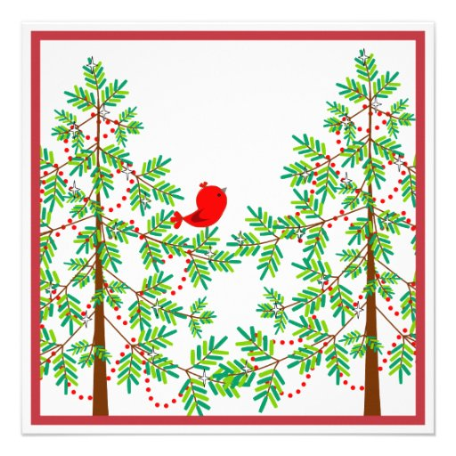 Little Red Bird in a Christmas Tree Party Personalized Invite
