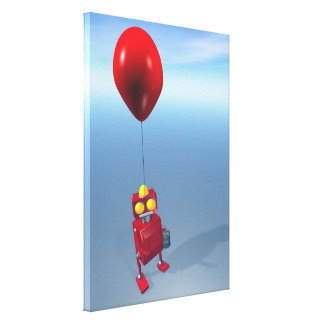 Little Red Birthday Robot 1 Stretched Canvas Print
