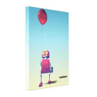 Little Red Birthday Robot 3 Gallery Wrapped Canvas