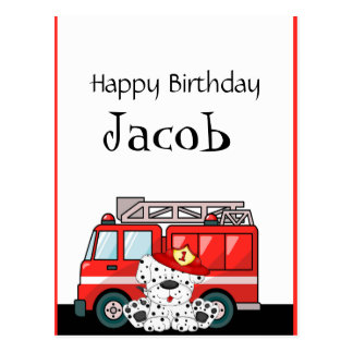 Little Red Fire Truck, Dalmatian Birthday Postcard