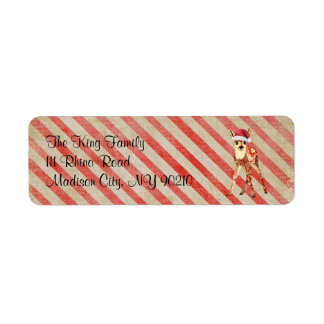 Little Red Floral Fawn Holiday Address Label