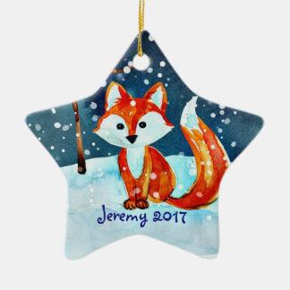 Little Red Fox in Snow Ceramic Ornament