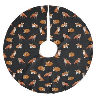 Little Red Foxes Christmas Tree Skirt Noir