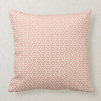 Little red hearts on pastel pink throw pillow