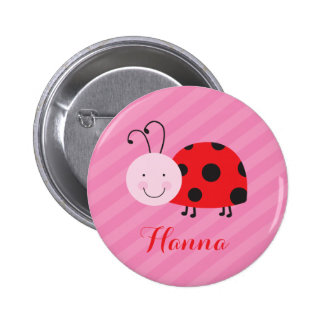 Little Red Ladybug Personalized Pin Button