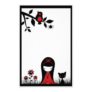 Little Red Ribbon Head Stationery