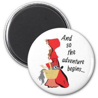 Little Red Riding Hood and Her Wolf Pup 6 Cm Round Magnet