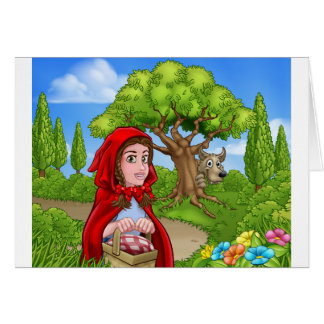 Little Red Riding Hood and Wolf Scene Card