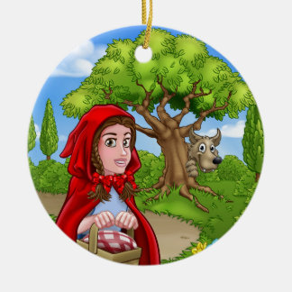 Little Red Riding Hood and Wolf Scene Ceramic Ornament