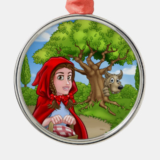 Little Red Riding Hood and Wolf Scene Metal Ornament
