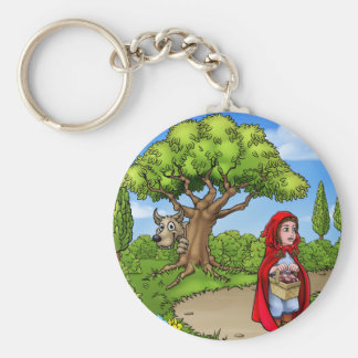 Little Red Riding Hood Cartoon Scene Key Ring