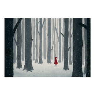 Little Red Riding Hood Illustrated Poster