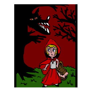Little red riding hood in the forest postcard