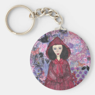 Little Red Riding Hood in the Woods 001.jpg Basic Round Button Key Ring