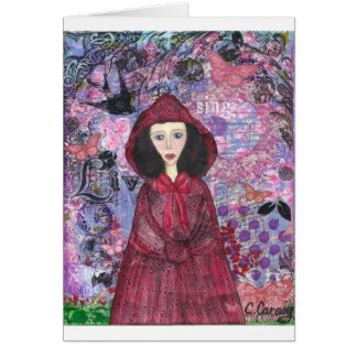 Little Red Riding Hood in the Woods 001.jpg Greeting Card