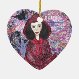 Little Red Riding Hood in the Woods 001.jpg Ceramic Heart Decoration