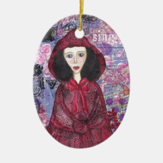 Little Red Riding Hood in the Woods 001.jpg Ceramic Oval Decoration