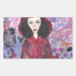 Little Red Riding Hood in the Woods 001.jpg Rectangular Sticker