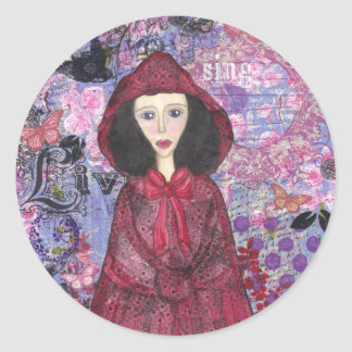 Little Red Riding Hood in the Woods 001.jpg Round Sticker