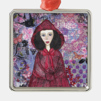 Little Red Riding Hood in the Woods 001.jpg Silver-Colored Square Decoration