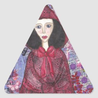 Little Red Riding Hood in the Woods 001.jpg Triangle Sticker