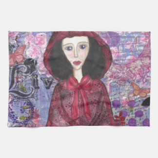 Little Red Riding Hood in the Woods 001.jpg Hand Towels