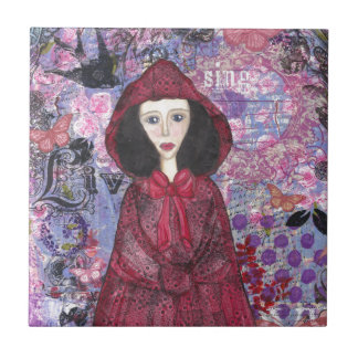Little Red Riding Hood in the Woods 001.jpg Small Square Tile