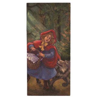 Little Red Riding Hood Wood USB 2.0 Flash Drive