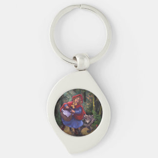 Little Red Riding Hood Silver-Colored Swirl Key Ring