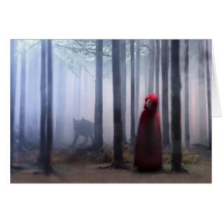 Little Red Riding Hood on Halloween Card