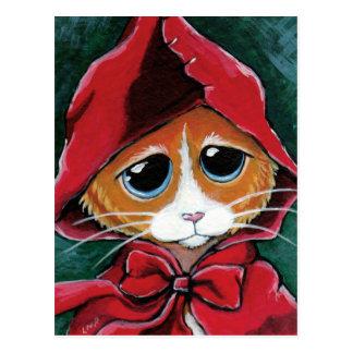 Little Red Riding Hood | Tabby Cat Art Postcard