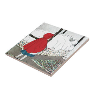 Little Red Riding Hood: What Grat Ears You Have! Small Square Tile
