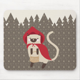 Little Red Riding Kitty Mouse Pad