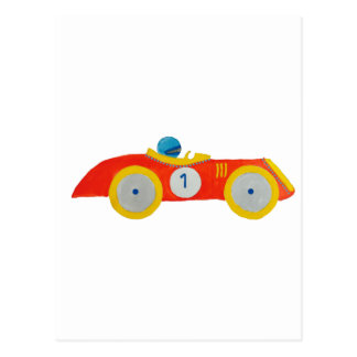 Little Red Roadster Racing Car Child 1st Birthday Postcard