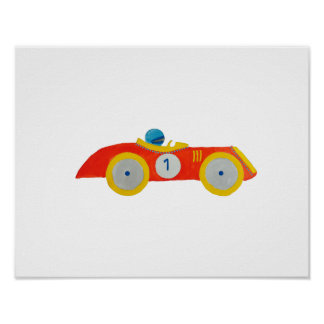 Little Red Roadster Racing Car Child 1st Birthday Poster