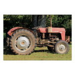 Little Red Tractor With Grey Wheels Poster