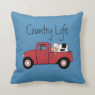 """Little Red Truck Country Cow Throw Pillow 16"""" x16"""""""