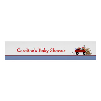 Little Red Wagon Baby Shower Banner Poster