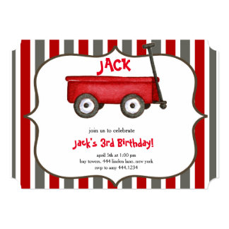 Little Red Wagon Boy Birthday Invitation