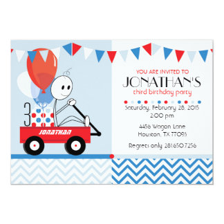 Little Red Wagon Cartoon Party Invitation