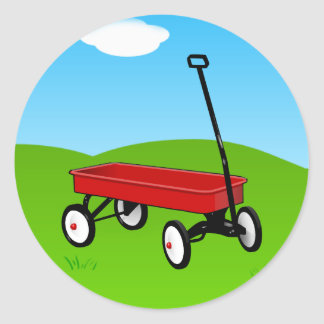 Little Red Wagon Classic Round Sticker