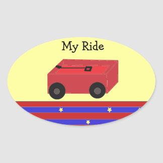 LIttle Red Wagon Oval Sticker