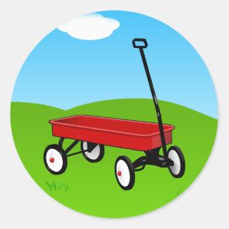 Little Red Wagon Round Sticker