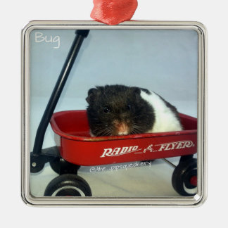 Little Red Wagon Silver-Colored Square Decoration