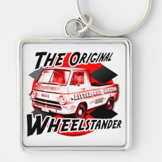 Little Red Wagon Silver-Colored Square Key Ring