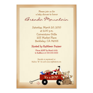Little Red Wagon Sports Theme Boy Baby Shower Custom Announcement